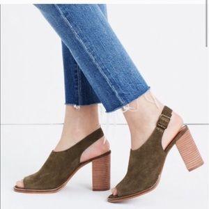 Madewell Cary Suede Slingback Heel Sandal 9.5